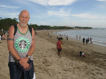 The author at Kuta Beach - 40 years on!
