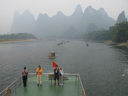 Cruising the Li River - in convoy