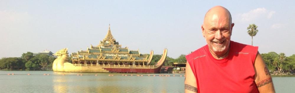 Michael Bromfield and the Karaweik Royal floating Barge, Yangon