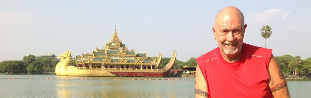 Michael Bromfield and the Karaweik Royal floating Barge, Yangon