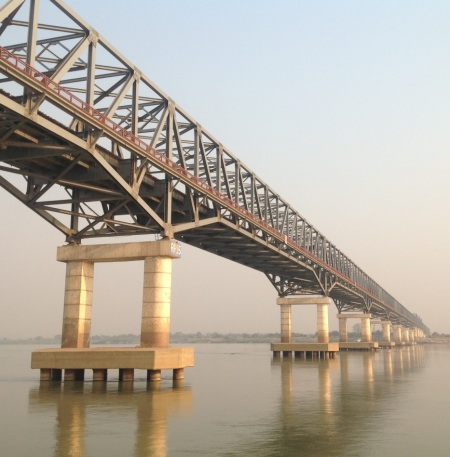 Giant bridge across the mighty Irrawaddy River