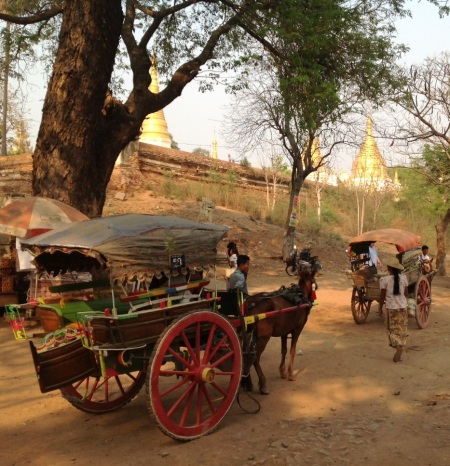 Exploring Inwa by horse and buggy