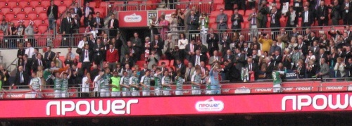 The Yeovil team are presented with the Play off trophy after securing a place in the Championship - the fourth most attended league in Europe! Ten years ago the team was competing in  Non League football!