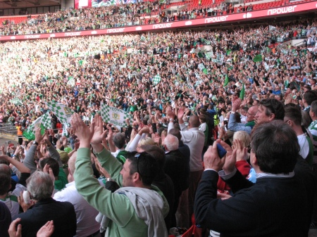 All the Yeovil fans stay to watch the presentation and salute their team.