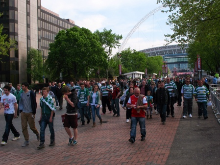 Stunned Yeovil fans make an orderly departure from Wembley Stadium - the Mecca of English football. No one can quite believe what has happened to 'Little old Yeovil'.