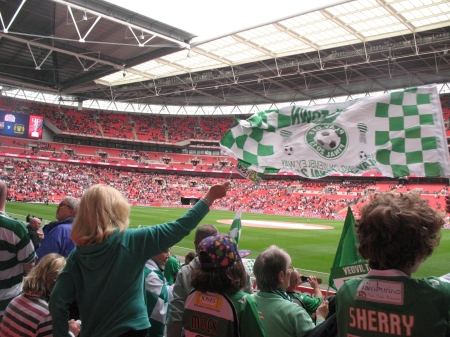 Yeovil fans cheer their team onto the pitch 2.
