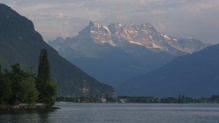 The Festival venues afford spectacular views across the lake to the Alps