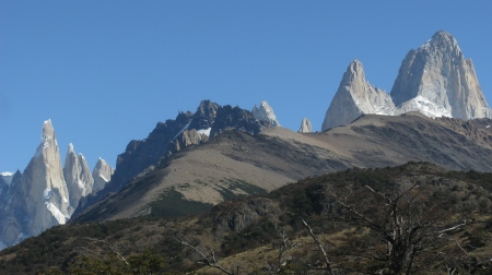 A rare view of both Cerro Fitzroy (Right) and Cerro Torre (Left) on the hike to Lago Torre