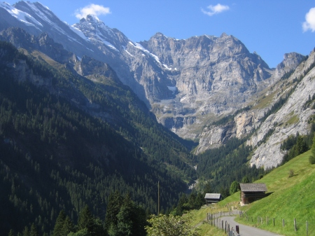 The steep trail to Busenalp starts in the beautiful Sefinental Valley