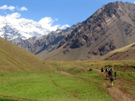 Trekkers and Climbers approaching Aconcagua – the highest mountain in the world outside the Himalaya