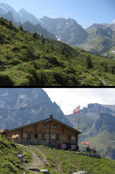 (Above) The approach to Busenalp. The Sefinenfurke Pass which we crossed to reach Busenalp in 2013 is the lowest point on the horizon. (Below) Hikers enjoying a snack at Busenalp.