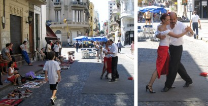 Dancing in the street Argentinian style is inevitably the beloved Tango