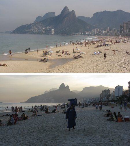 Ipanema Beach by day and at sunset.