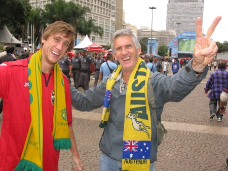 John and Philip Baker at the Sao Paulo fan zone - their team managed to accumulate fewer points than England but were far more impressive.