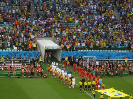 Other than possibly Argentina the USA (here playing Belgium) were the best supported visiting team in Brazil.