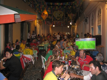 The Old Town in Salvador was a riot of colour after games.