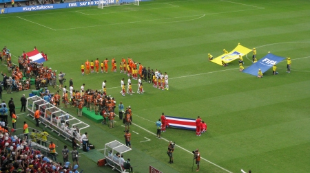 Holland vs Costa Rica Quarter Final. Whose flag is whose?