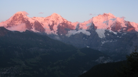 The Eiger, Monch and Jungrau from the Lobhorn Hut.