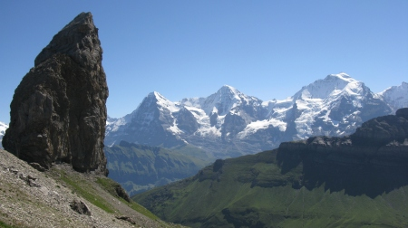 The Lobhorn takes on a different appearance from the north and provides a striking contrast to the high Alps behind.