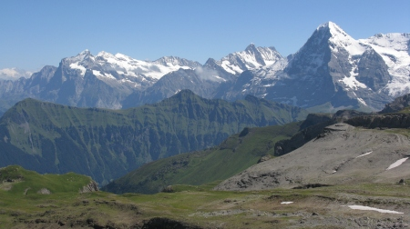Legendary Peaks familiar to mountaineers worldwide. From the left the Wetternorn where mountaineering was born, the Schreckhorn and the infamous and imposing North Face of the Eiger.