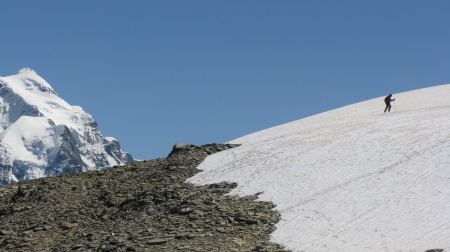 Crossing the snowfield to access the Col beneath Schwalmere.