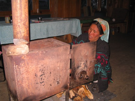 Chopping wood for evening heat at Kyangin Gompa