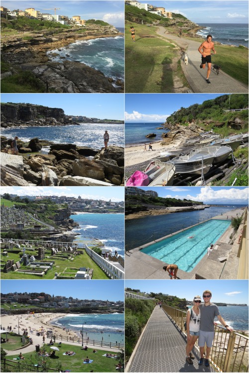 The spectacular coastal path from Coogee to Bondi is popular with joggers and passes Gordon Bay, the Clovelly Pool, Waverley Cemetery and many beautiful beaches including Bronte.