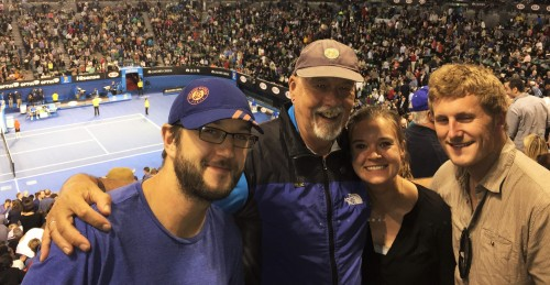 With son David, daughter Lisa and fiancée James in the Rod Laver Arena at the Australian Open Tennis.