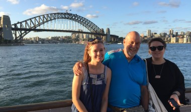 The Author with Daughters Lisa (left) and Sarah. Like her father before her in his twenties Lisa is now living in the Sydney area.