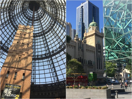 Architects have skilfully blended old and new in Melbourne and most stunningly at the Central Mall where the historic Coops Shot Tower is encased under a large glass dome!