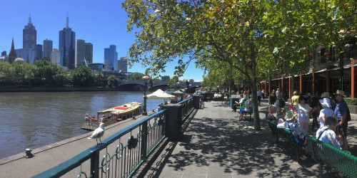 There are many delightful walks and eating options along the banks of the Yarra in Melbourne.