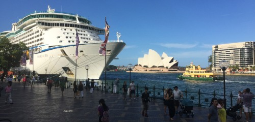 Large Ocean Liners are a frequent occurrence at Circular Quay as Sydney is a highlight of most world cruises.