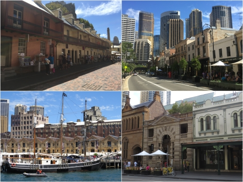 The historic Rocks area overlooked by Sydney's commercial centre, is the site of the original Sydney settlement and is popular with tourists and locals alike.
