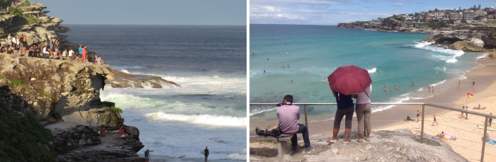 The Cliffs above Tamarama Beach are a popular spot for watching Surfers.