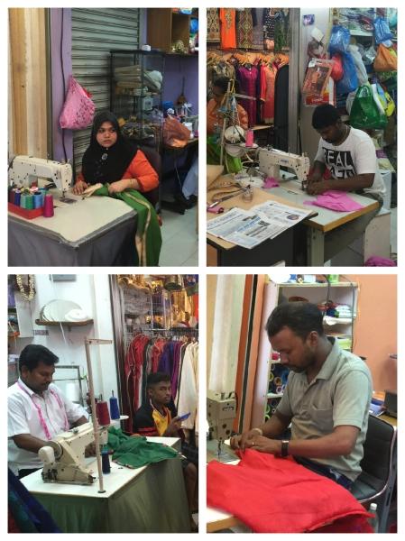 Tailors at work in Little India's Tekka Centre.