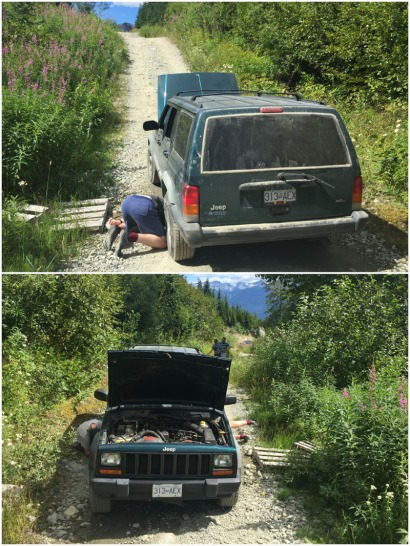 A week later. Another (much rougher!) Forestry Road near Brandywine Meadows. Another problem – this time mechanical and easily solved with a hammer!