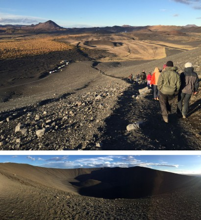 Descending from the Hverfjall crater rim