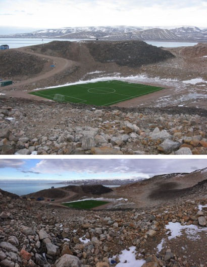 By far the most surprising and unexpected feature of a visit to Ittoqqortoormiit was to discover the new all weather (?) soccer field!