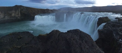 The Godafoss Waterfall resembles a smaller scale Niagara